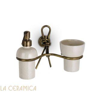 Дозатор для мыла + стакан для зубных щеток FLAB Nodo 552/D