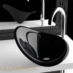 Умывальник GLASS DESIGN Flower (Black Gloss)