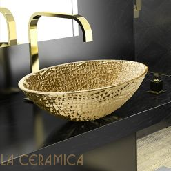 Умывальник GLASS DESIGN Ice Oval Lux (Gold/Gold)