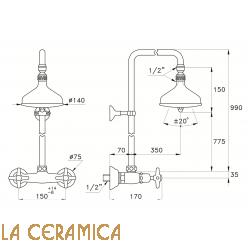 Душевой гарнитур Stella Italica 3283/301/314A-140