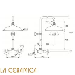 Душевой гарнитур Stella Italica 3283/301/314A-220