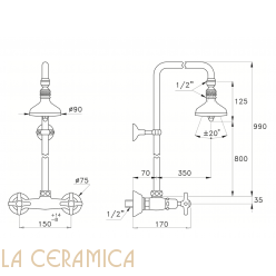 Душевой гарнитур Stella Italica 3283/301/314A-90
