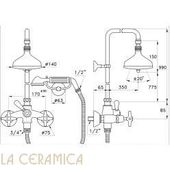 Душевой гарнитур Stella Italica 3284/33-140