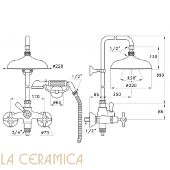 Душевой гарнитур Stella Italica 3284/33-220