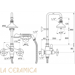 Душевой гарнитур Stella Italica 3284/33-90