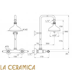 Душевой гарнитур Stella Italica Leve 3283/301/314A-140