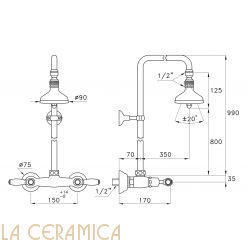 Душевой гарнитур Stella Italica Leve 3283/301/314A-90