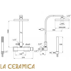 Душевой гарнитур Stella Bamboo Quadro 3283/420/304-200