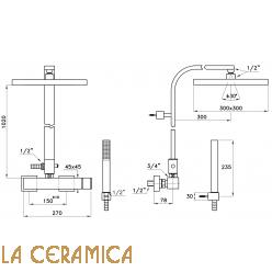 Душевой гарнитур Stella Bamboo Quadro 3283/420/304-300