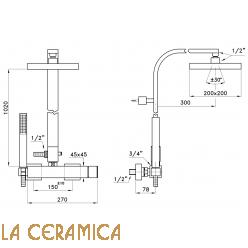 Душевой гарнитур Stella Bamboo Quadro 3283/420/306-200