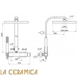 Душевой гарнитур Stella Bamboo Quadro 3283/420/306-300